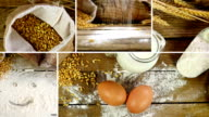 Montage collection of clips showing sheaf of wheat ears, flour and bread on a wooden table video