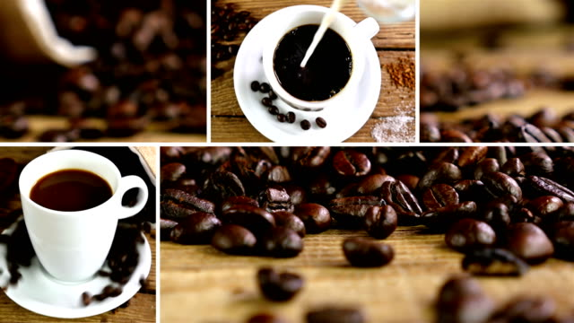 Montage collection of clips that show pouring coffee video