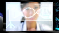 Montage Female Doctor Touch Screen CG Visual Research video