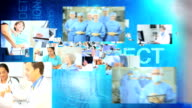 CG montage fly through medical Multi ethnic team keeping records video