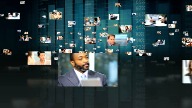 Montage fly through Multi ethnic business managers using touch screen video