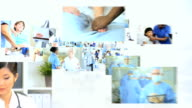 3D montage fly through of Multi ethnic doctors video