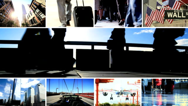 Montage image of business global travel activity video