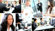 Montage Multi ethnic businesspeople closing contracts online video
