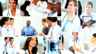 Montage Multi ethnic doctors meeting hospital using technology video