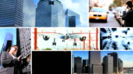 Montage New York skyscrapers with working business managers video