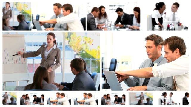 Montage of business meetings video