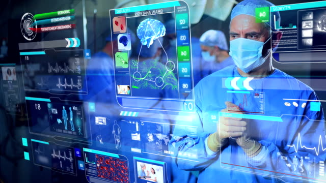 CG montage of Caucasian surgeon using 3D touch screen technology video