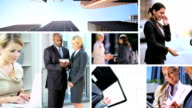Montage of city financial view Multi ethnic managers video