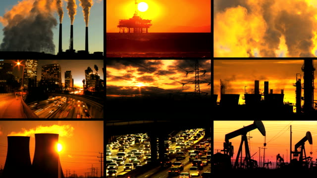 Montage of Clean Energy Production & Fossil Fuel Pollution video