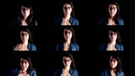 Montage of facial expressions by young adult woman video