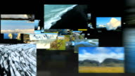 Montage of fly through images aerials of agriculture video