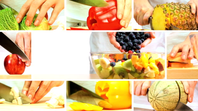 Montage of Fresh Fruit & Vegeatable Preparation video