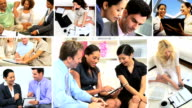 2D montage of managers working global market using technology video