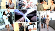 Montage of Multi ethnic business managers using touch screen video