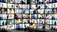 Montage of Multi ethnic business people closing contracts online video