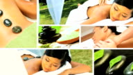 Montage of Multi Ethnic Females at Health Spa video