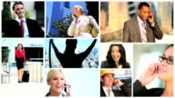 Montage of Multi ethnic managers mobile communication video