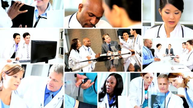 Montage of Multi ethnic medical meetings in hospital video