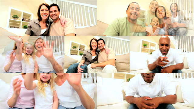 Montage of Multi Ethnic People Using Online Video Chat video