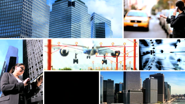 Montage of New York skyscrapers Caucasian business managers video