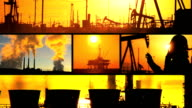 Montage of Oil Fossil Fuel Production at Sunset video