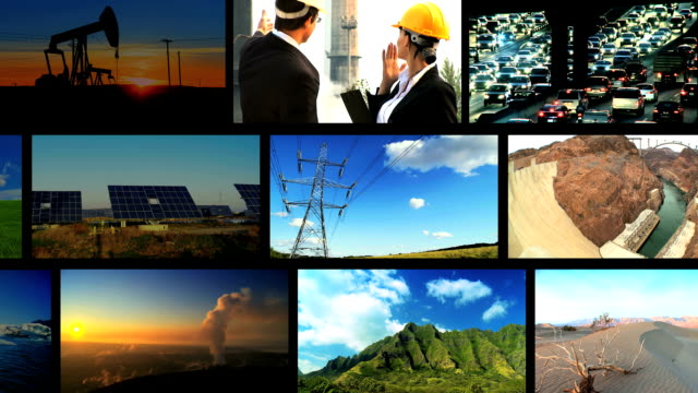 Montage of pollution and clean renewable sources video
