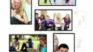 Montage of students clips into frames video
