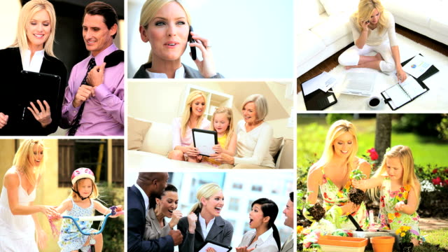 Montage of woman as a mother and business manager video