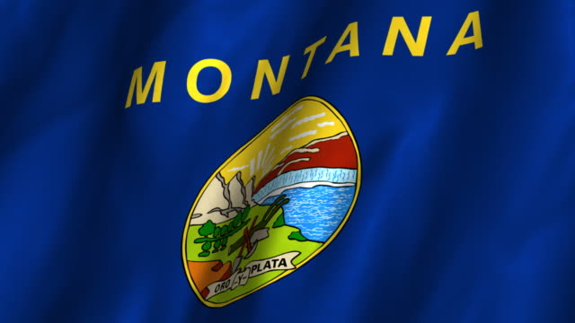 Montana State Flag - waving, looping video