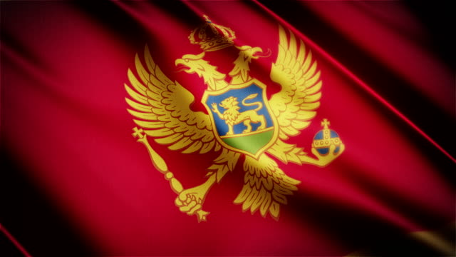 Montenegro realistic national flag seamless looped waving animation video