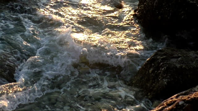 Montenegro rough coast - big waves splashing rock cliff. video