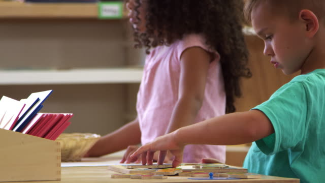 Montessori Pupils Working At Desk With Wooden Shape Puzzles video