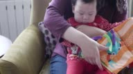6 months baby girl reading cloth book video
