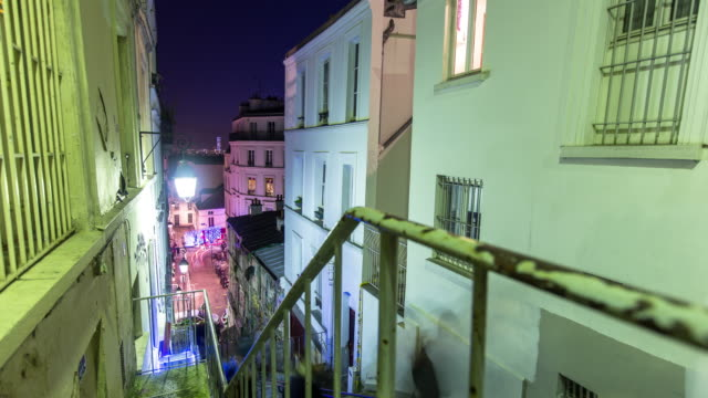 Montmartre Staircase at Night - Time Lapse video