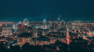 Montreal, Canada, Timelapse  - The Skyline by night video
