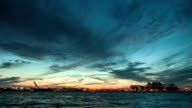 Montreal Saint Lawrence River and Boats Sunset Timelapse video