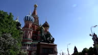 Monument to Minin and Pozharsky against Saint Basil's Cathedral, orbital shot video