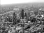 Moody black and white aerial view of London. NTSC, PAL video