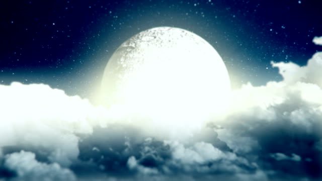 Moon in a cloudy night video