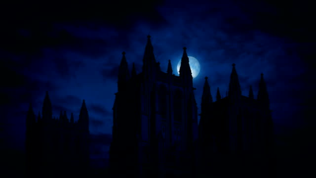 Moon Moves Behind Gothic Cathedral video