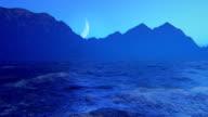 Moon over ocean video