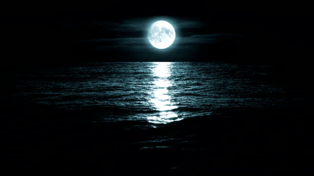 Moon over the sea, loopable video