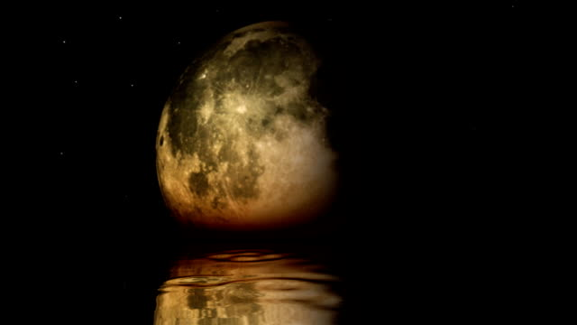 Moon Phases with lake surface reflection video