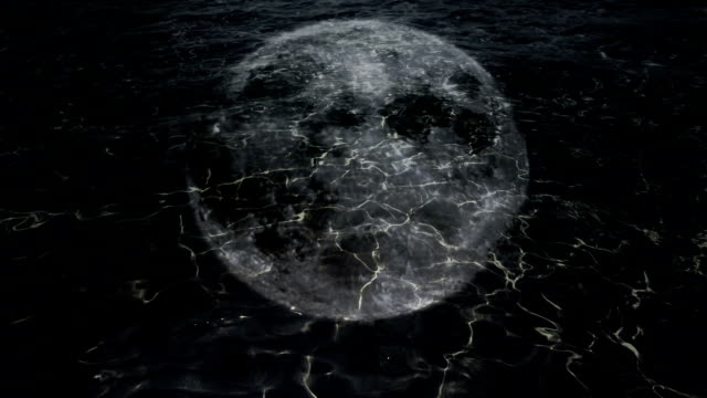 Moon reflection in dark water. video