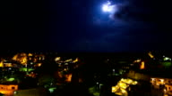 Moon timelapse over Rock houses and Cappadocian terrain video