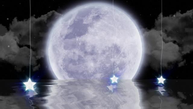 Moonlit ocean animation (loop) HD video