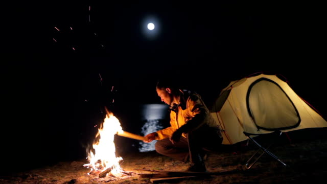 Moonrise above the tourist tent. video