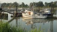 Moored Fishboats, Boat Departs, Steveston Morning video