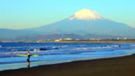 Morning beach with Mt Fuji - surfer video